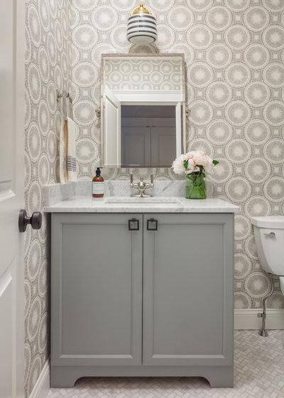 Transitional Powder Room by Jamie Keskin Design