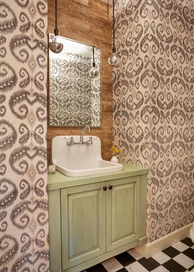 Beautiful Transitional Powder Room by Garrison Hullinger Interior Design Inc