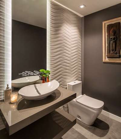 Contemporary Powder Room by Allen Construction