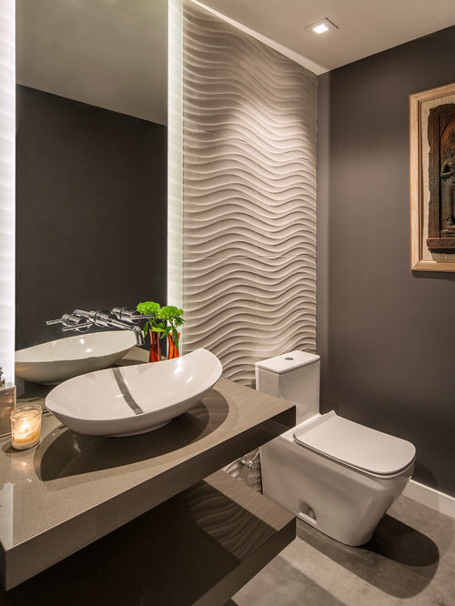 Contemporary powder room design ideas remodels photos Toilet room design ideas