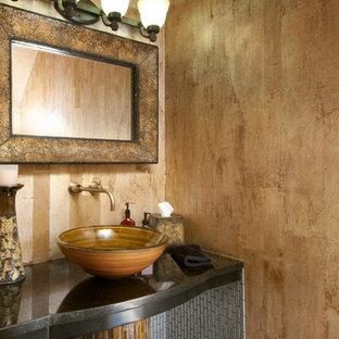 Ispirazione per un bagno di servizio contemporaneo con lavabo a bacinella