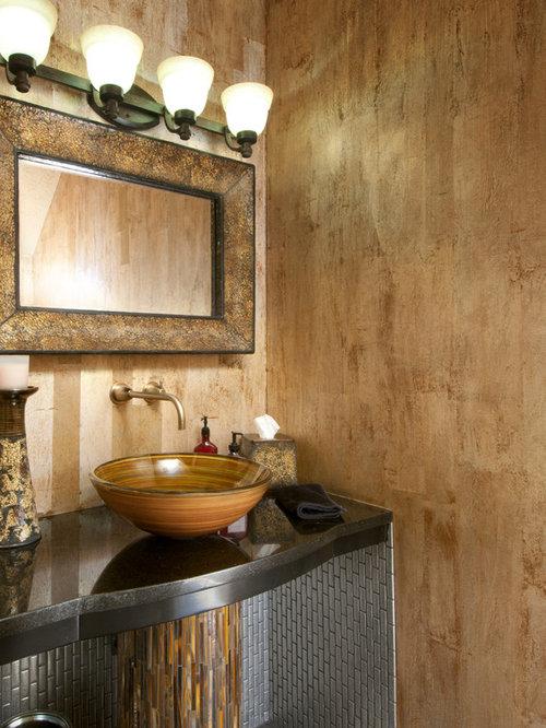 Trendy powder room photo in Cincinnati with a vessel sink