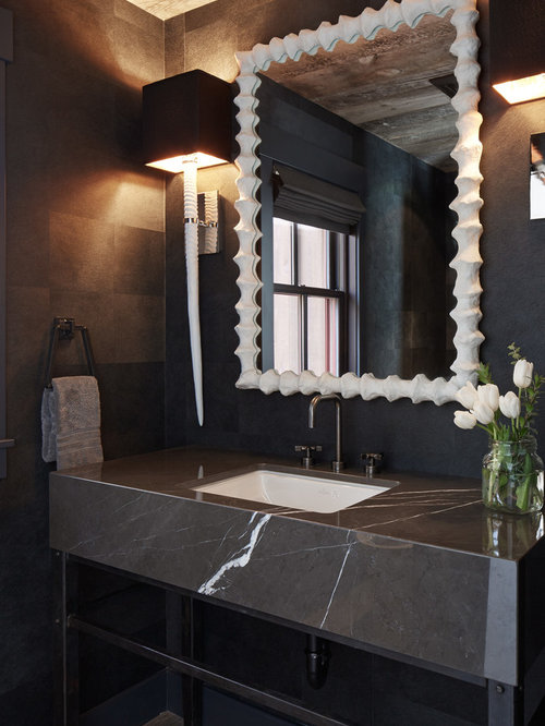 Trendy Powder Room Photo In San Francisco With An Undermount Sink And Marble  Countertops