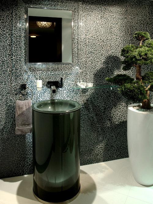 Black Sink Pedestal Powder Room Design Ideas, Remodels & Photos