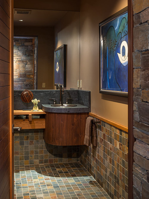 trendy slate tile powder room photo in seattle