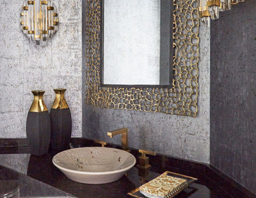 Contemporary Powder Room in Gold, Silver, and Black