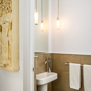 Trendy powder room photo in Vancouver with a wall-mount sink