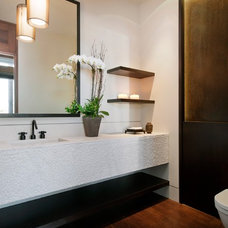 Contemporary Powder Room by Rosemarie Allaire Lighting Design