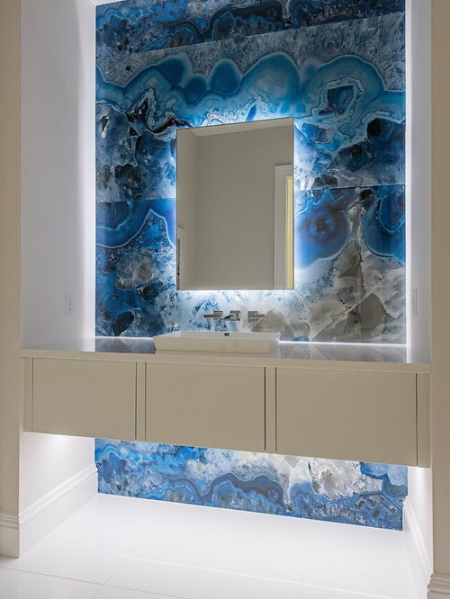 Trendy White Floor Powder Room Photo In Minneapolis With Flat Panel Cabinets White Cabinets
