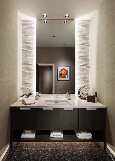 Contemporary Powder Room by timothyj kitchen & bath, inc.