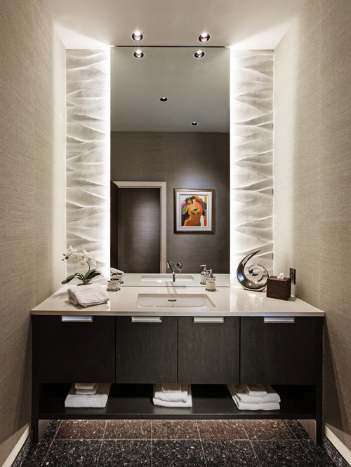 Contemporary powder room design ideas remodels photos - Powder room remodel ideas ...