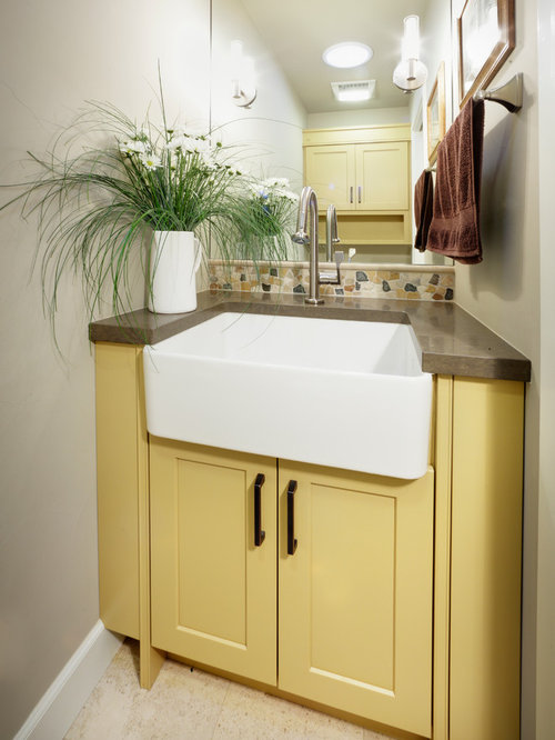 Yellow Powder Room Design Ideas Remodels Photos With Yellow Cabinets