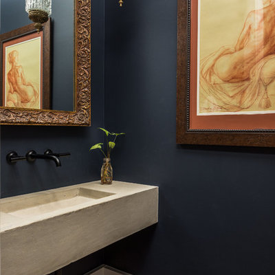 Tuscan powder room photo in Charleston with an integrated sink, concrete countertops and blue walls