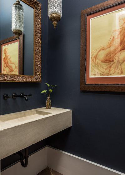 Mediterranean Powder Room by Archetype Interior Design Studio