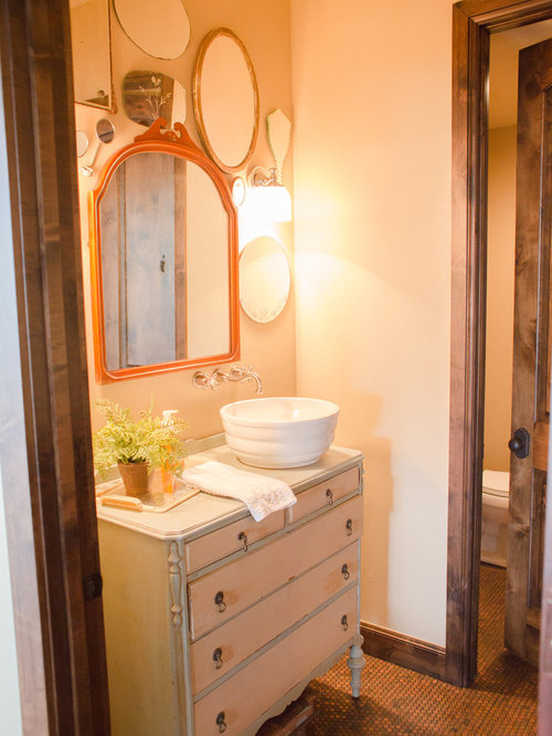 100+ Mosaic Tile Floor Powder Room with Distressed Cabinets Ideas ...