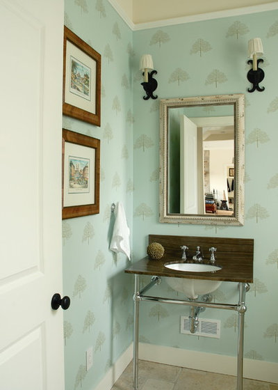 Transitional Powder Room by Leona Mozes Photography