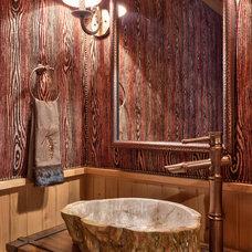 Rustic Powder Room by Glennwood Custom Builders (NC)