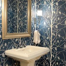 Transitional Powder Room by Ashleigh Weatherill Interior Design