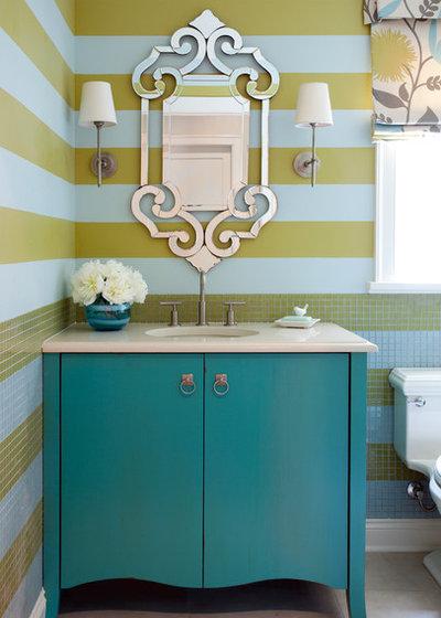 Transitional Powder Room by Tobi Fairley Interior Design