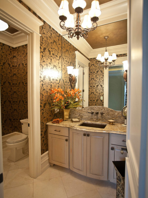 Expansive Traditional Powder Room Design Ideas