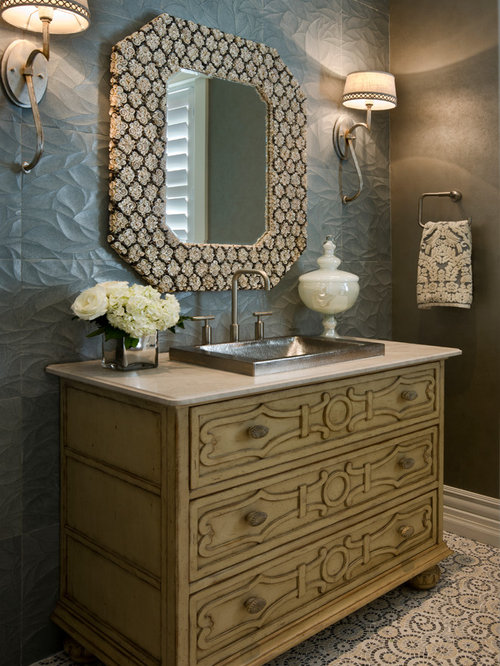 Small traditional powder room idea in los angeles with a drop in sink - Powder Room Design Ideas Renovations Amp Photos With A Drop
