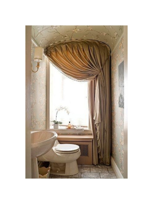 30 Trendy Powder Room with a Pedestal Sink and Beige Cabinets Design ...