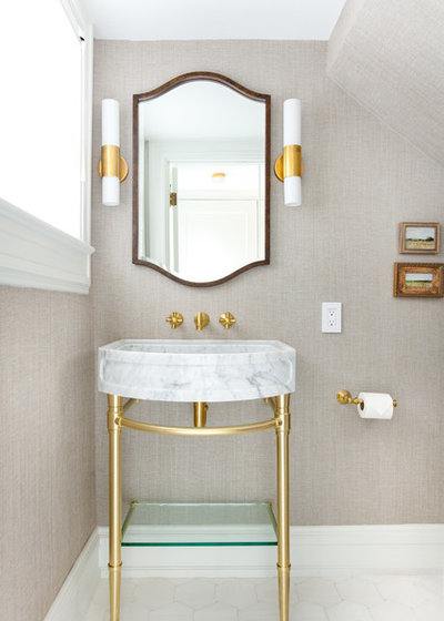 Transitional Powder Room by Kitchen Design Concepts