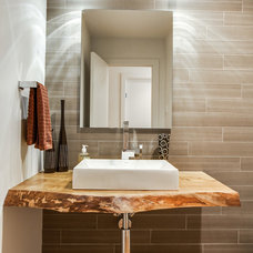 Contemporary Powder Room Dallas Renovation