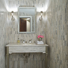 Transitional Powder Room by SoJo design
