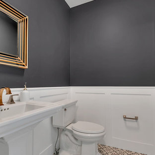 Example of a small classic ceramic tile powder room design in Minneapolis with a two-piece toilet, black walls and a pedestal sink