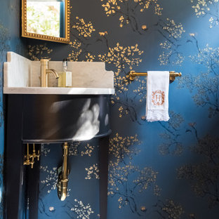 Deep Blue Chinoiserie. Inspired Wallpaper in a Historic Home