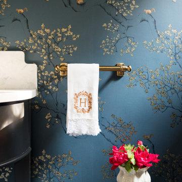 Deep Blue Powder Bath Chinoiserie Inspired Wallpaper