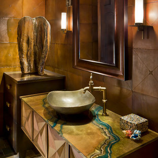 Inspiration for a timeless powder room remodel in Phoenix with a vessel sink and multicolored countertops
