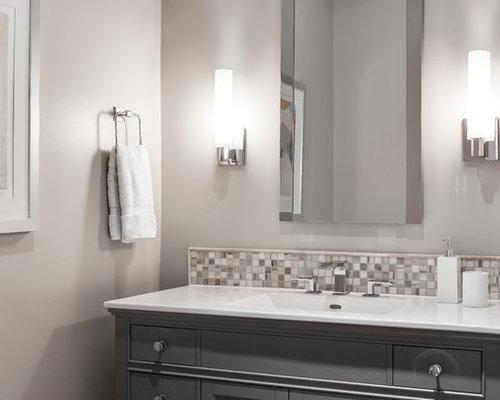 photos et id es d co de wc et toilettes avec un lavabo int gr et carrelage en mosa que. Black Bedroom Furniture Sets. Home Design Ideas