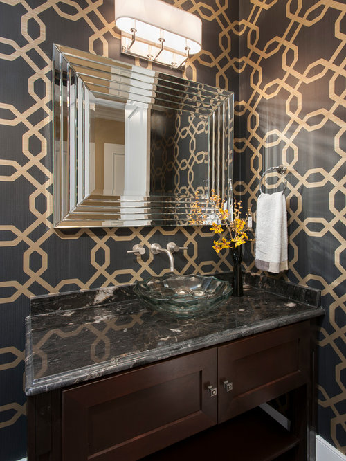 Powder Room with Dark Wood Cabinets Design Ideas  Remodel