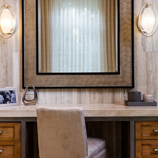 Design ideas for a medium sized traditional cloakroom in Other with recessed-panel cabinets, medium wood cabinets, marble worktops, beige worktops, a one-piece toilet, multi-coloured tiles, marble tiles, beige walls, porcelain flooring and multi-coloured floors.
