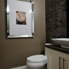Contemporary Powder Room by Positive Space Staging + Design, Inc.