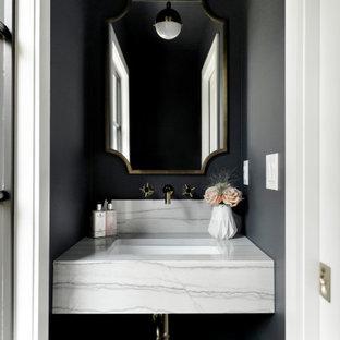 На фото: с невысоким бюджетом маленькие туалеты в стиле современная классика с открытыми фасадами, черными стенами, столешницей из кварцита и белой столешницей