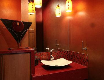 Dramatic Red Powder Room