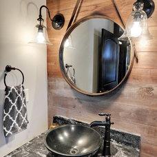 Transitional Powder Room by Divine Custom Homes