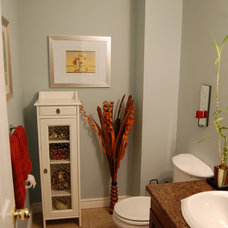 Tropical Powder Room by Decked Out Spaces