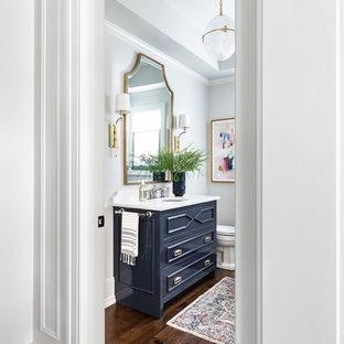 シカゴの広いトランジショナルスタイルのおしゃれなトイレ・洗面所 (家具調キャビネット、青いキャビネット、グレーの壁、無垢フローリング、オーバーカウンターシンク、クオーツストーンの洗面台、茶色い床、白い洗面カウンター) の写真