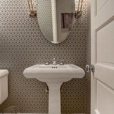 Transitional Powder Room by Samantha Friedman Interior Designs