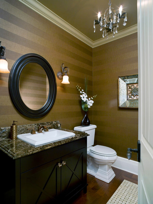 how to hang a bathroom mirror horizontal stripe wallpaper houzz 25406