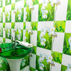 Contemporary Powder Room by KMM Improvements Corp.