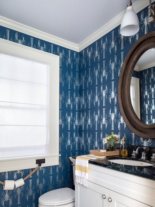 example of a small coastal powder room design in new york with an undermount sink