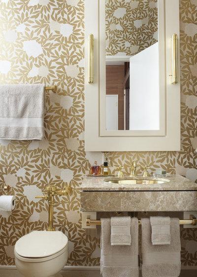 Transitional Powder Room by Jessica Lagrange Interiors