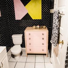 Eclectic Powder Room by ariane bartosh interior design