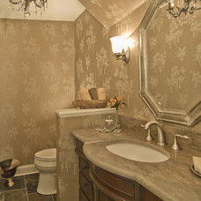 Eclectic Powder Room by StarrMiller Interior Design, Inc.