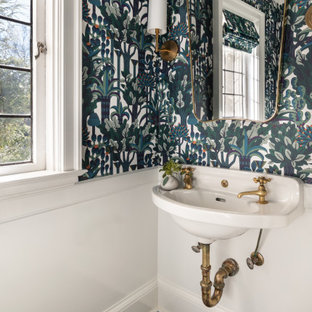 ニューヨークの小さいトランジショナルスタイルのおしゃれなトイレ・洗面所 (磁器タイルの床、緑の床、マルチカラーの壁、壁付け型シンク) の写真